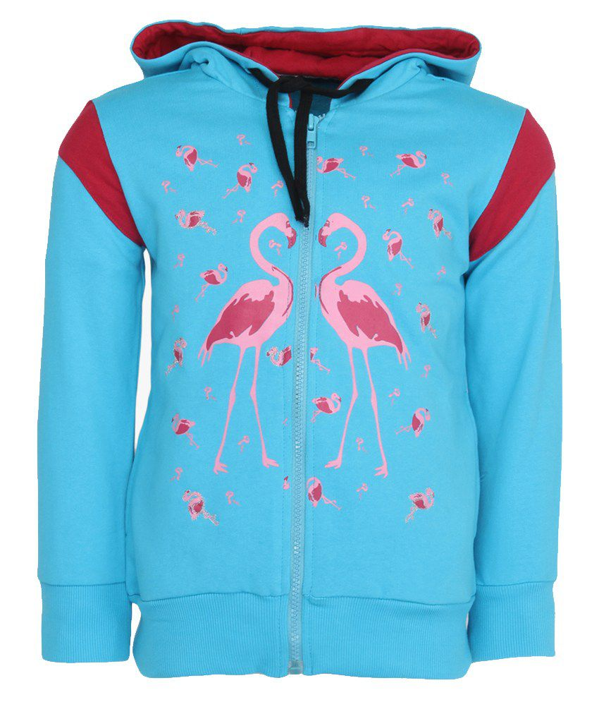 Cool Quotient Blue Cotton With Hood Sweatshirt For Girls