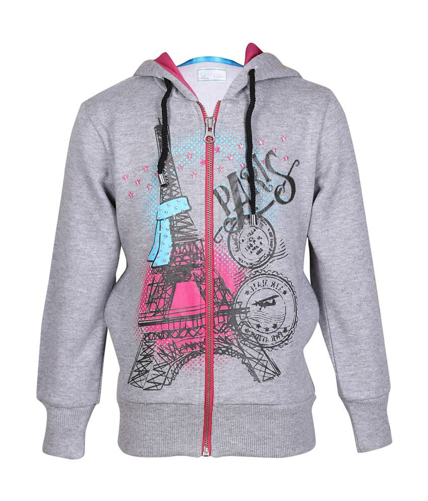 Cool Quotient Gray Cotton Zipper Sweatshirt For Girls