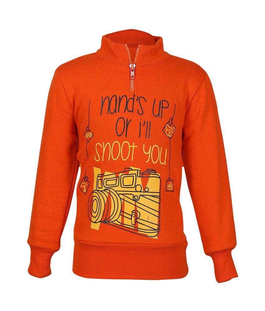 Cool Quotient Orange Cotton Sweatshirt For Girls