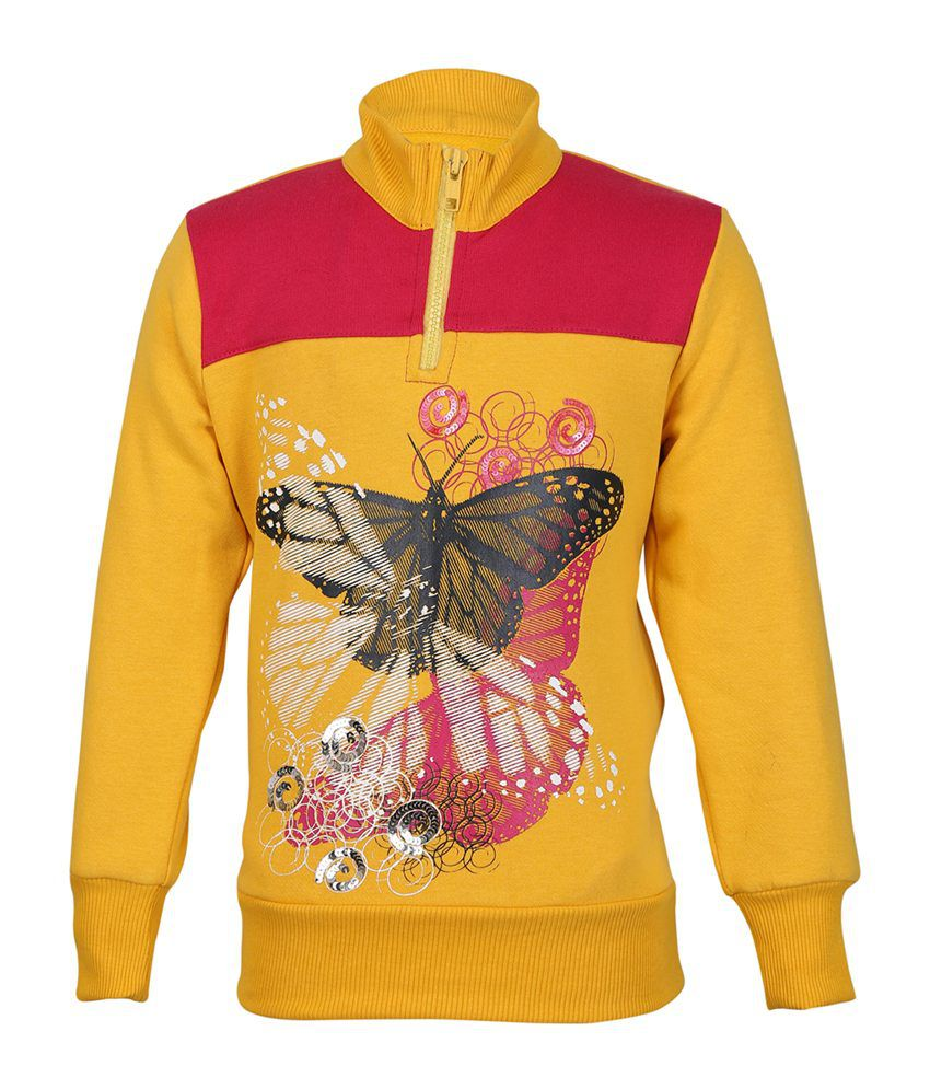 Cool Quotient Yellow Cotton Sweatshirt For Girls