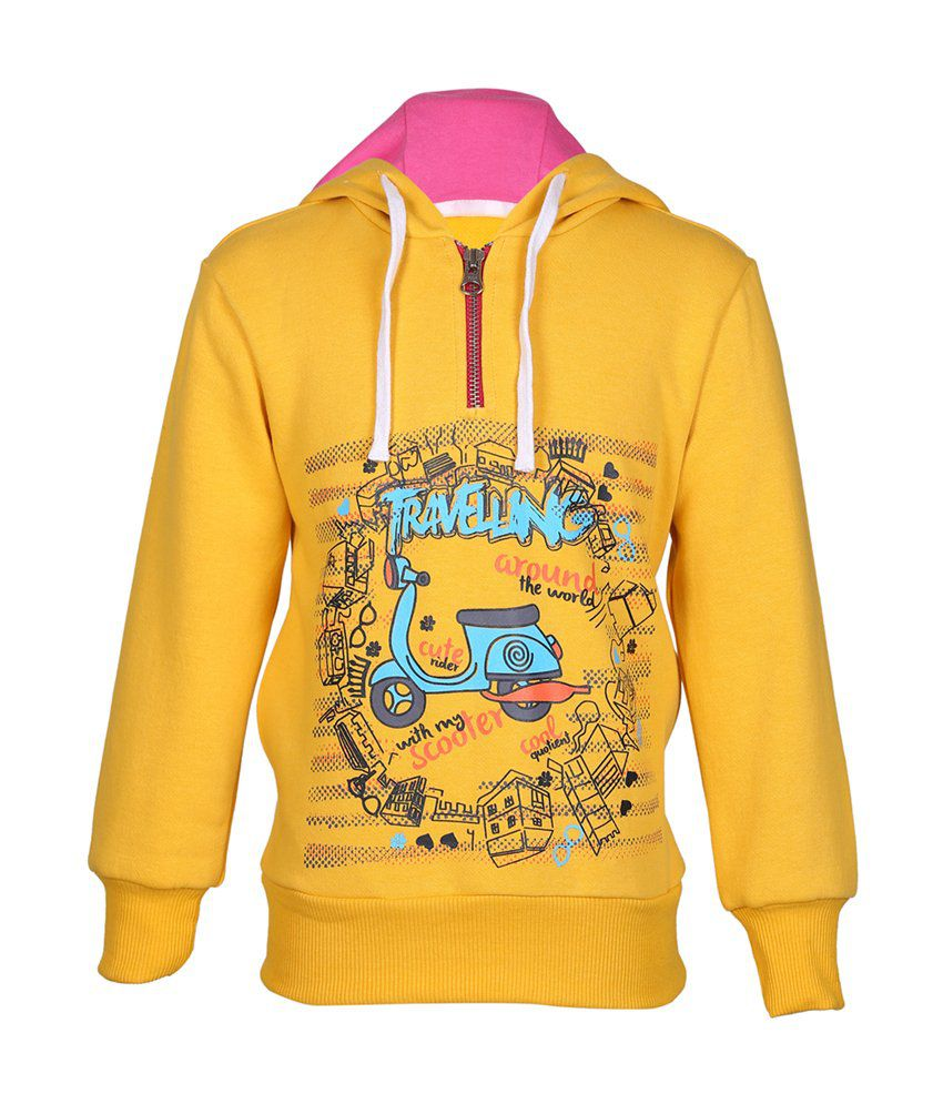 Cool Quotient Yellow Cotton With Hood Sweatshirt For Girls