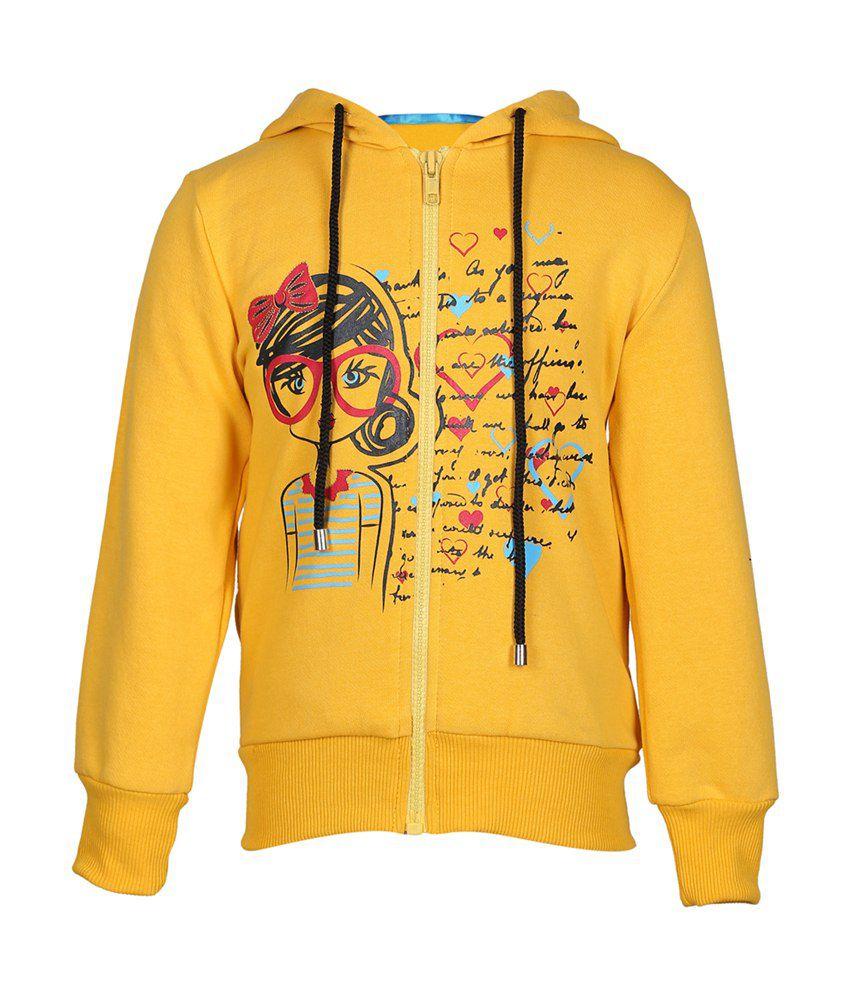 Cool Quotient Yellow Cotton Zipper Sweatshirt For Girls