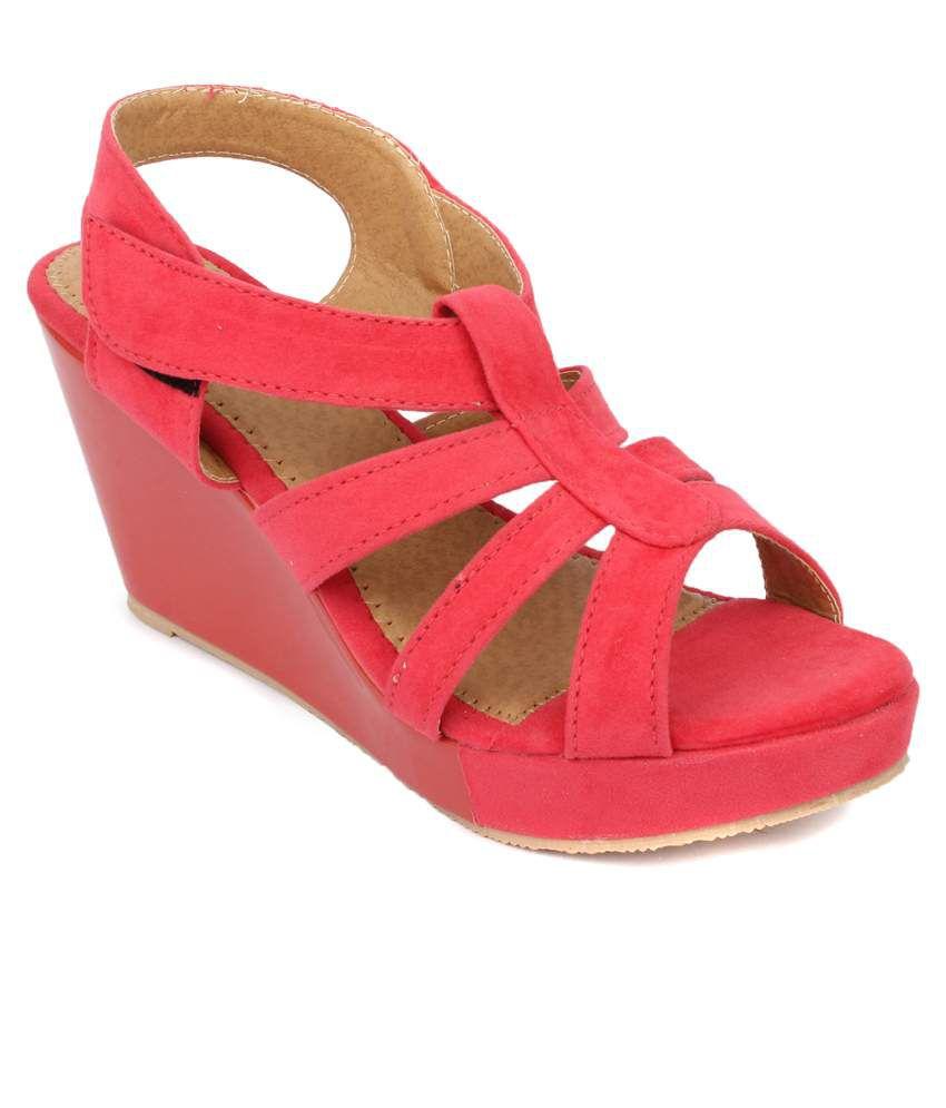 Hanna Red Wedges Heels