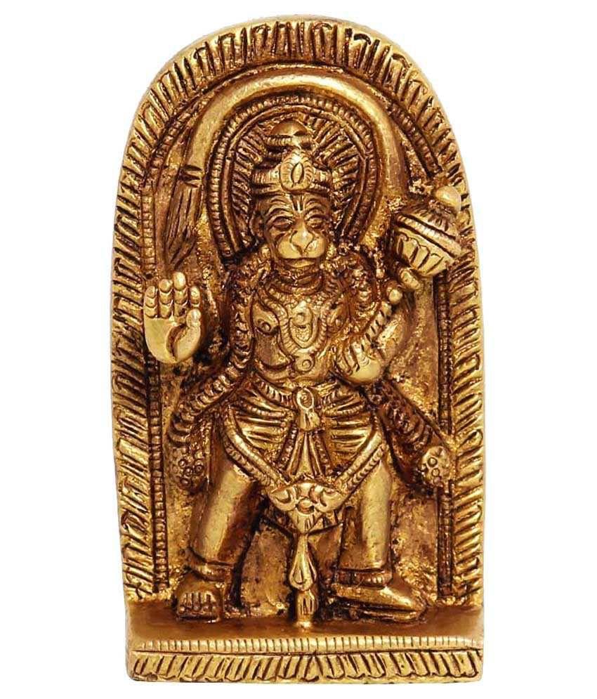 Ark Creation Yellow Brass Hindu God Hanuman Standing