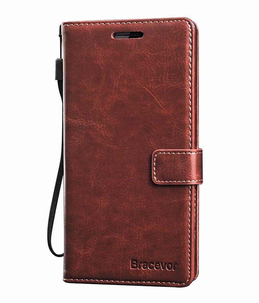 new style 91d8f fbc4e Bracevor Executive Leather Flip Cover For Htc Desire 816 - Brown