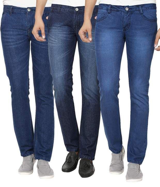Ben Carter Blue Slim Fit Jeans - Combo Of 3