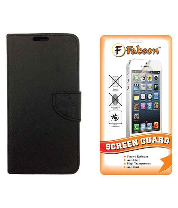 Fabson Leather Flip Cover & Screen Guard Combo For Motorola Moto X Style - Black