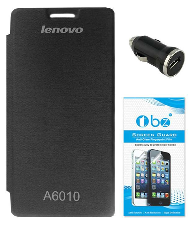 Tbz Flip Cover For Lenovo A6010 (black) With Car Charger And Screen Guard