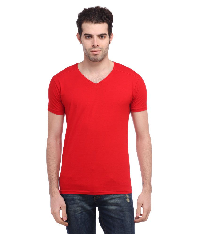 Tees Collection Red Cotton Blend T Shirt