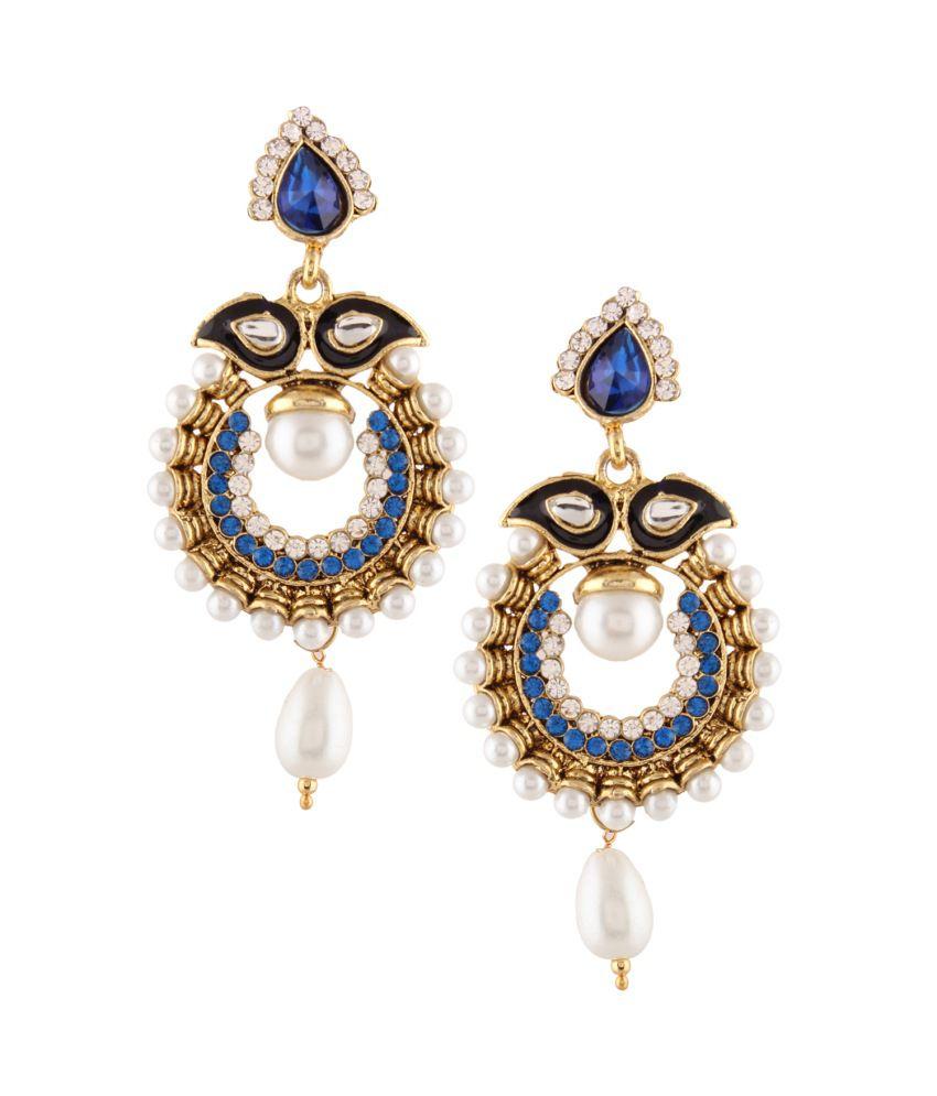 Dancing Girl Blue Alloy Hanging Earrings