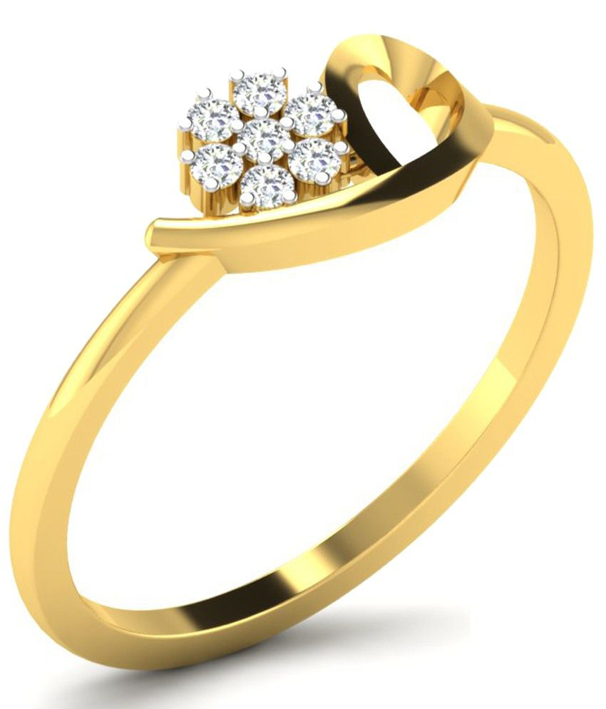 Kataria Jewellers Lovely Flower Ring in 14kt BIS Hallmarked Gold with Certified Diamonds