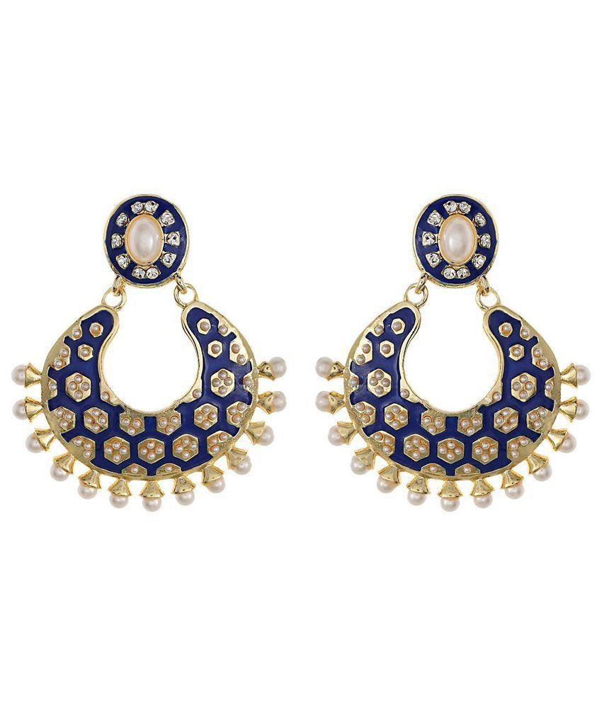 Royal Bling Blue & Golden Pearl Hanging Earrings