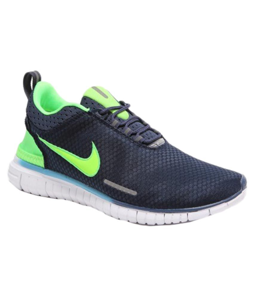 Nike Navy Blue and Green Sports Shoes ...