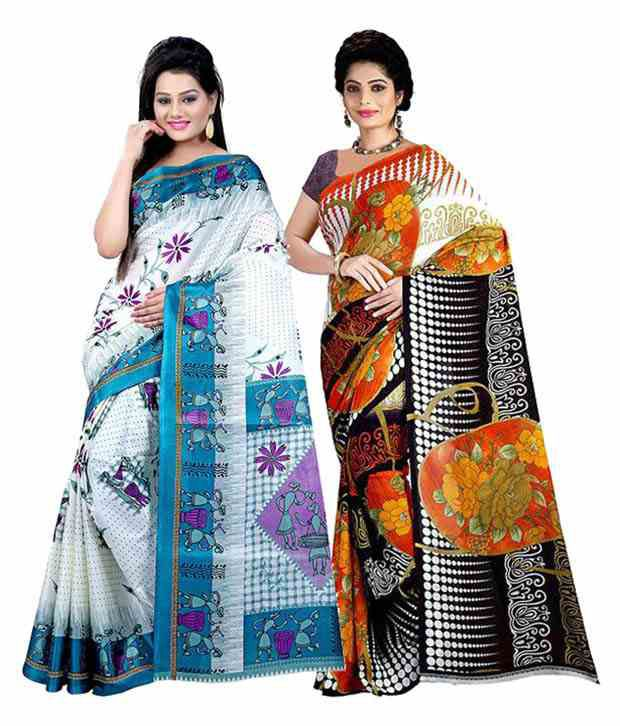 Ambaji Multicolor 1 Saree Fabric Dani & 1 Saree Fabric Silk Pack Of 2