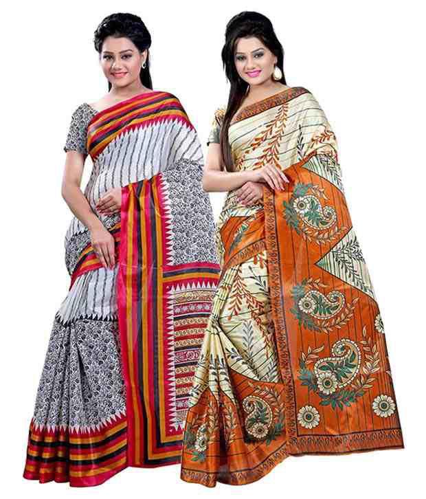 Ambaji Multicolor Silk Pack Of 2