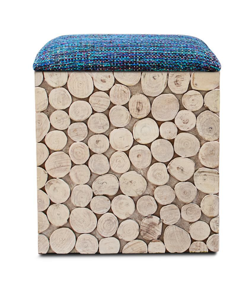 Inliving Solid Wood Brown Riley Box Pouffe