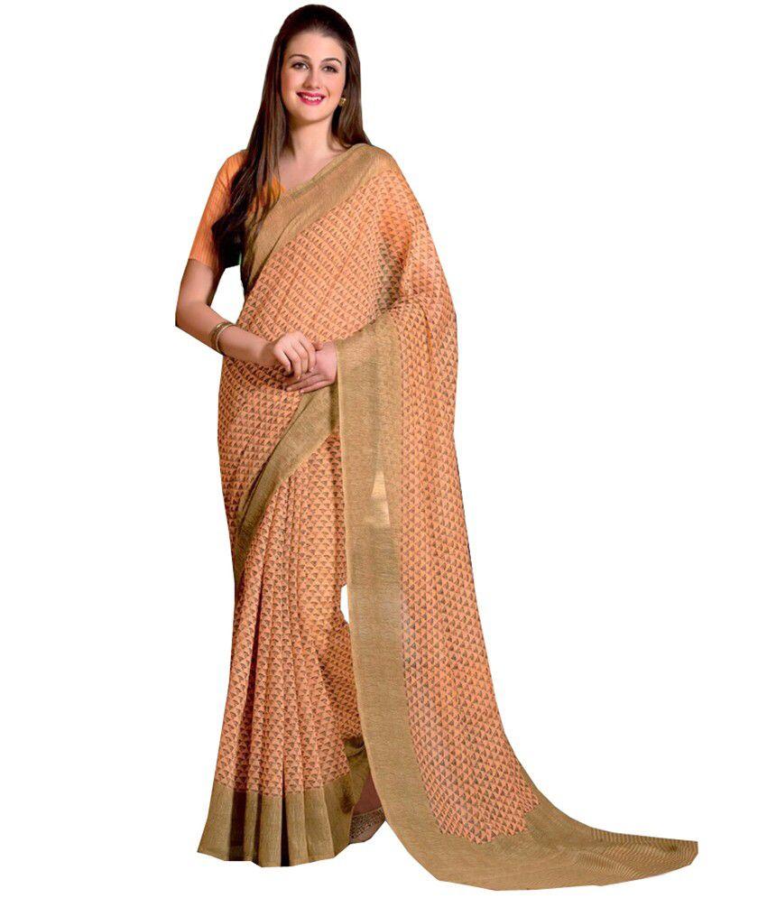 Sthri Orange Cotton Saree