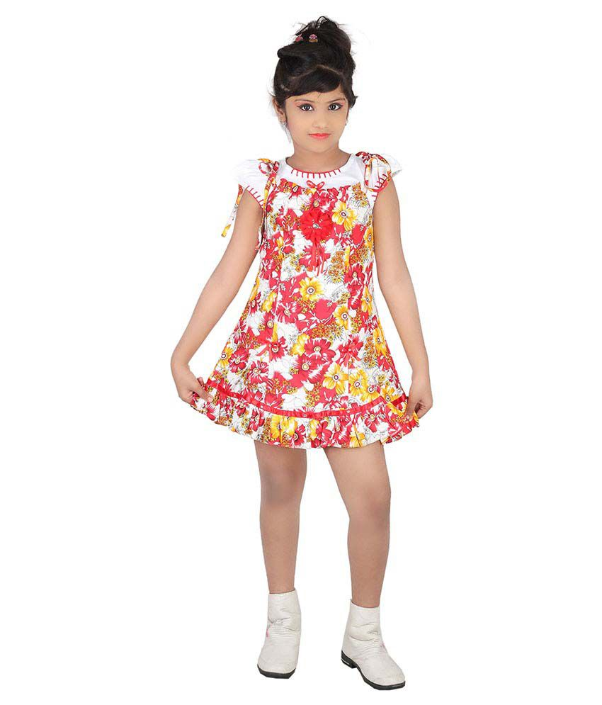 Tiny Teens Red Cotton Frock For Girls Set 2