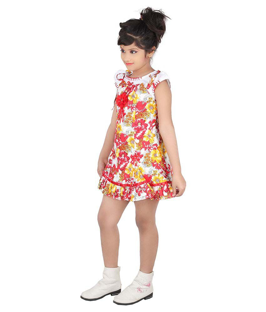 Tiny Teens Red Cotton Frock For Girls