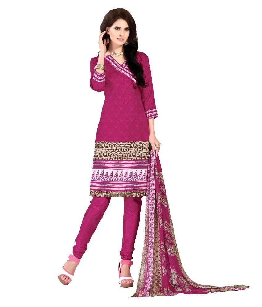 Khushali Pink Art Silk Unstitched Dress Material