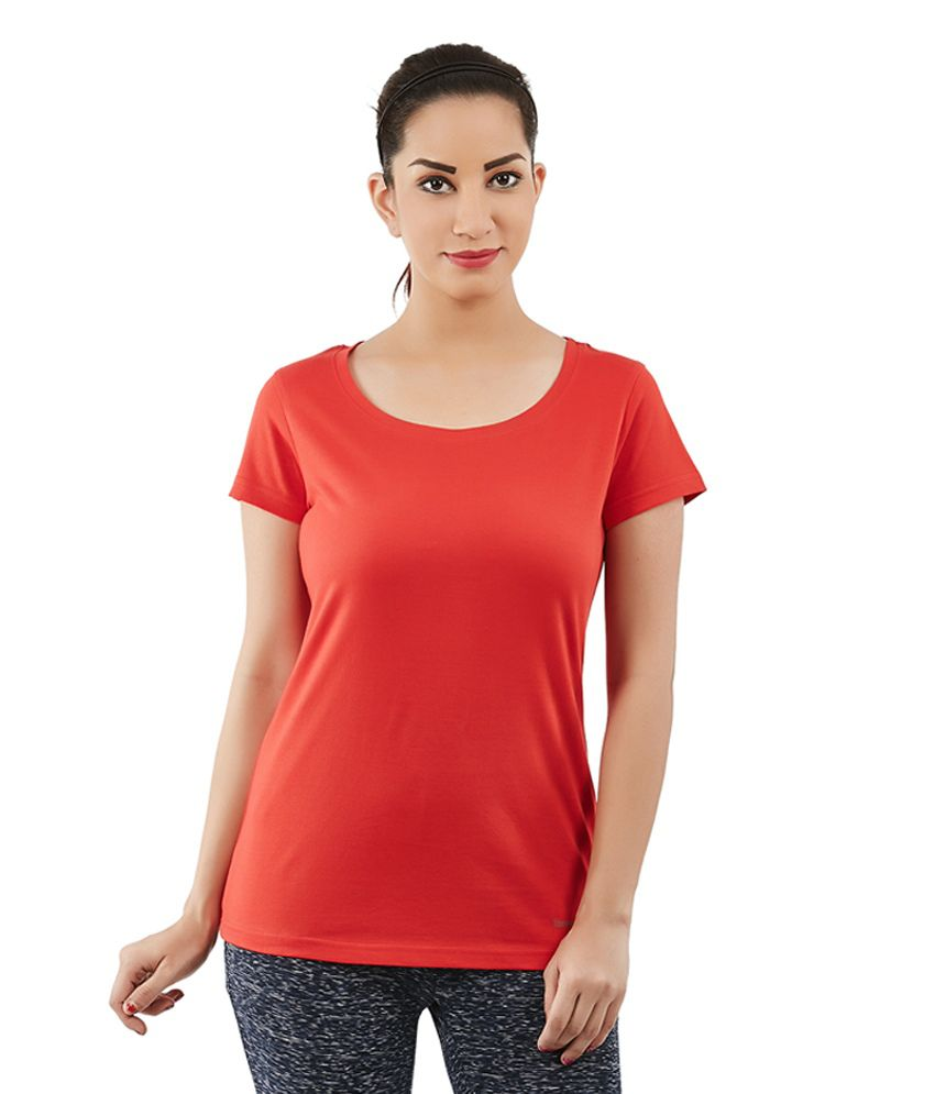 Foreveryoga Red Cotton Scoop Neck Tee