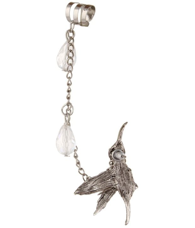 Fayon Weekend Party Crystal Bird With Crystal Drops Ear cuff