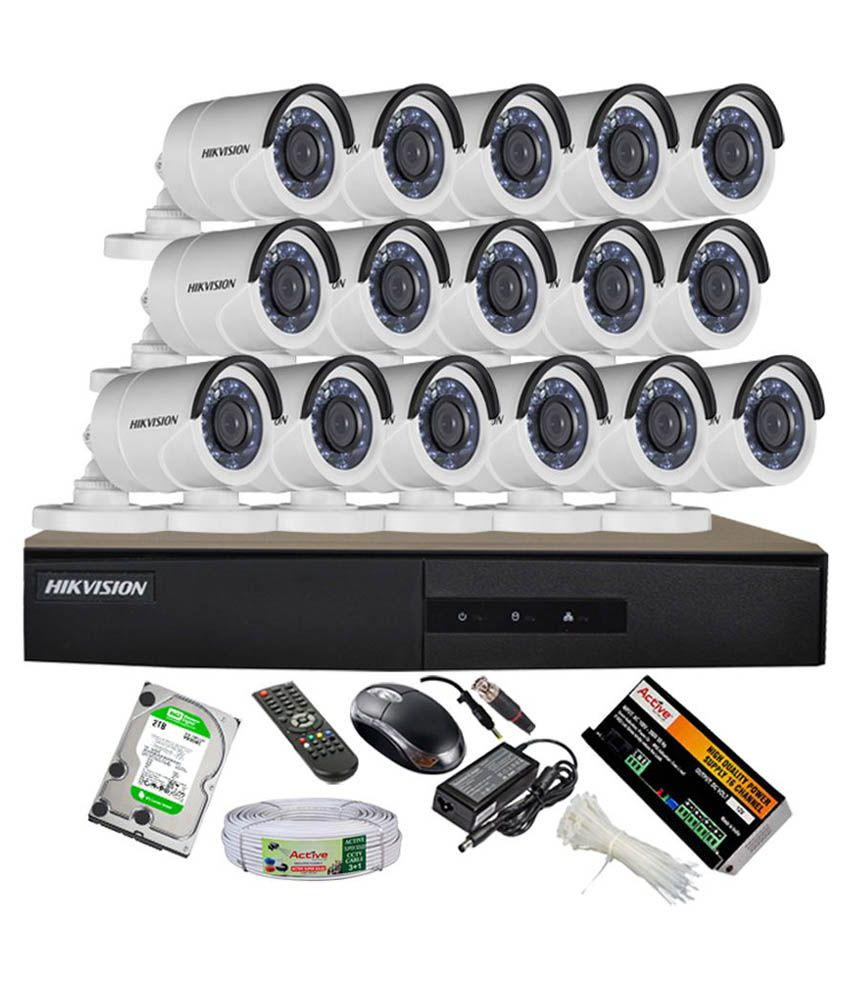 Hikvision DS-7216HGHI-E1 16CH Dvr, 16(DS-2CE16COT-IRP) Bullet Cameras (With Mouse, Remote, 2TB HDD, Bnc&Dc Connectors,Power Supply,Cable)