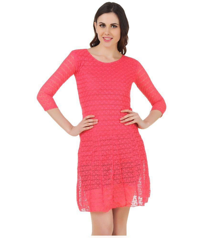 472afd281648 Estilo De Vida Pink Lace Dress available at SnapDeal for Rs.999