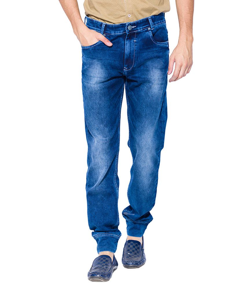Mufti Blue Sport Fit Jogger Jeans