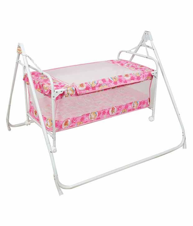 Ehomekart Pink Deluxe Cradle Cum Cot For Kids