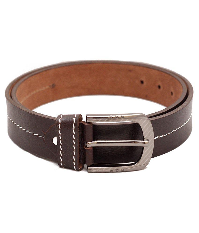 Shiven Brown Leather Belt For Men