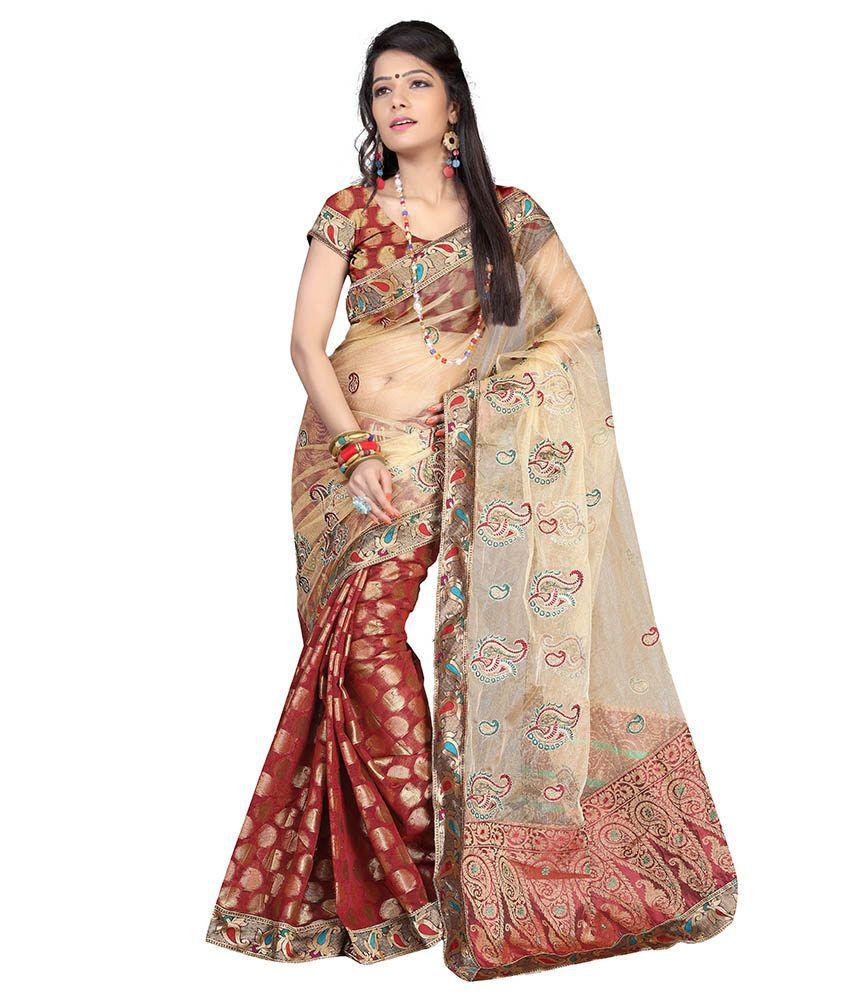 Viva N Diva Beige Chanderi Saree