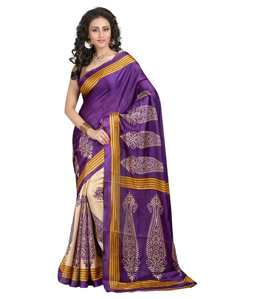 Noshaba Purple Bhagalpuri Silk Saree