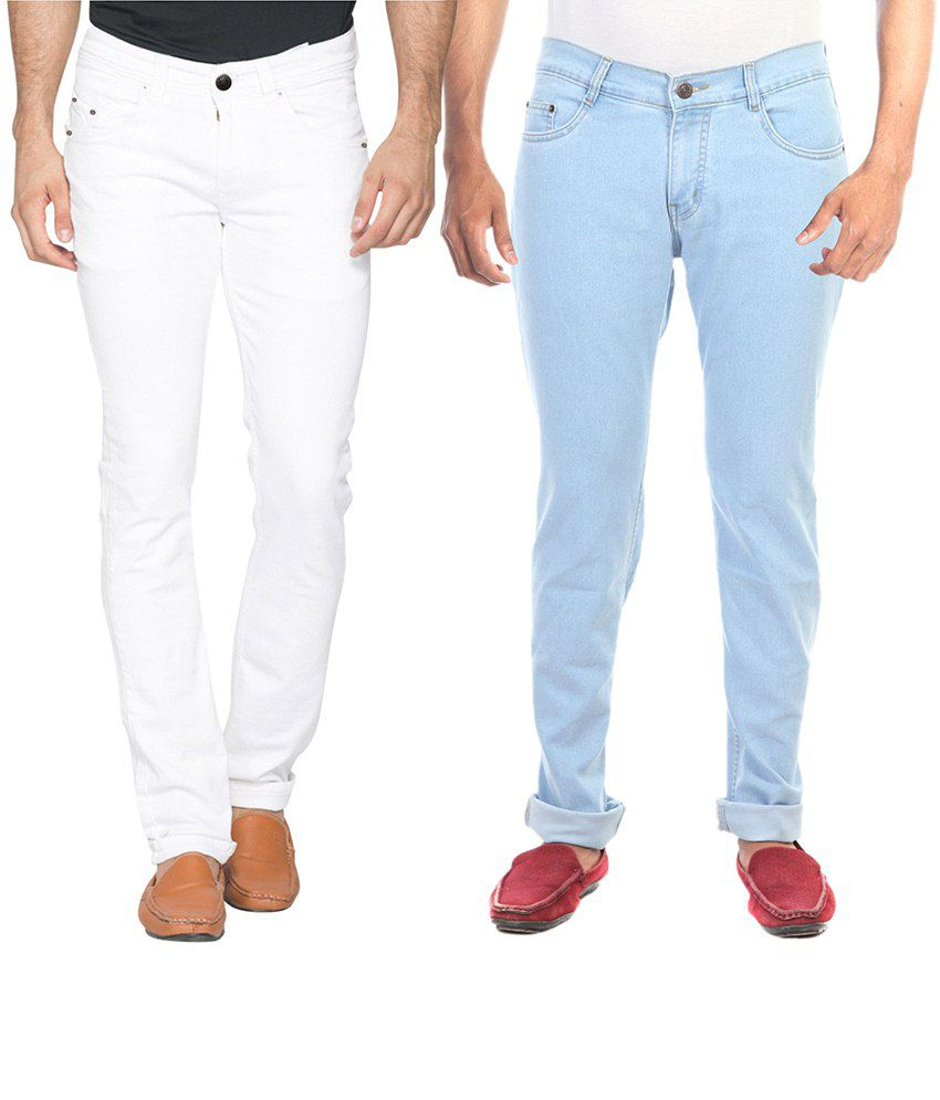 Haltung White & Blue Slim Fit Jeans Pack Of 2