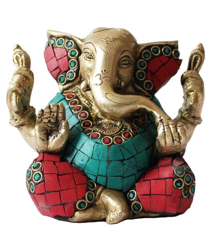 Ghi Brass Lord Chaturbhuj Ganesha Sitting