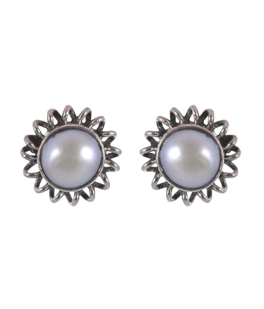 Jay Mataji Jewels White Pearl Studs