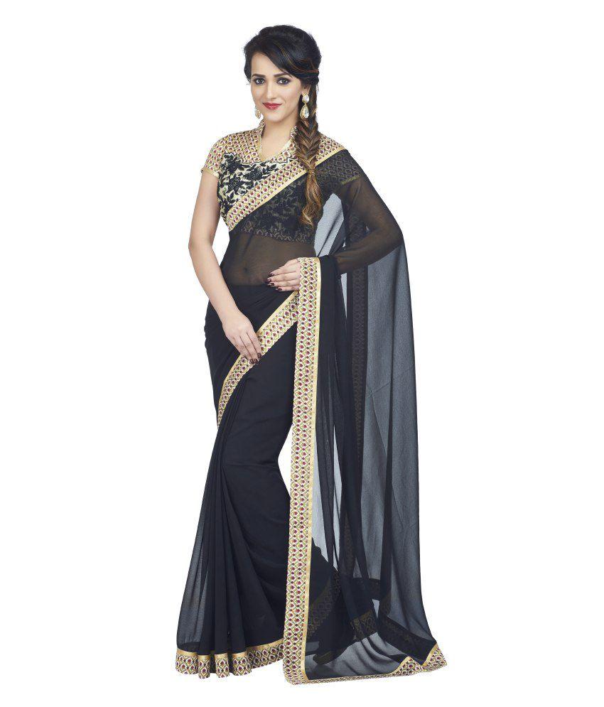 6897f5cde0f4f7 Palav Black Chiffon Designer Saree With Printed Raw Silk Blouse - Buy Palav  Black Chiffon Designer Saree With Printed Raw Silk Blouse Online at Low  Price ...