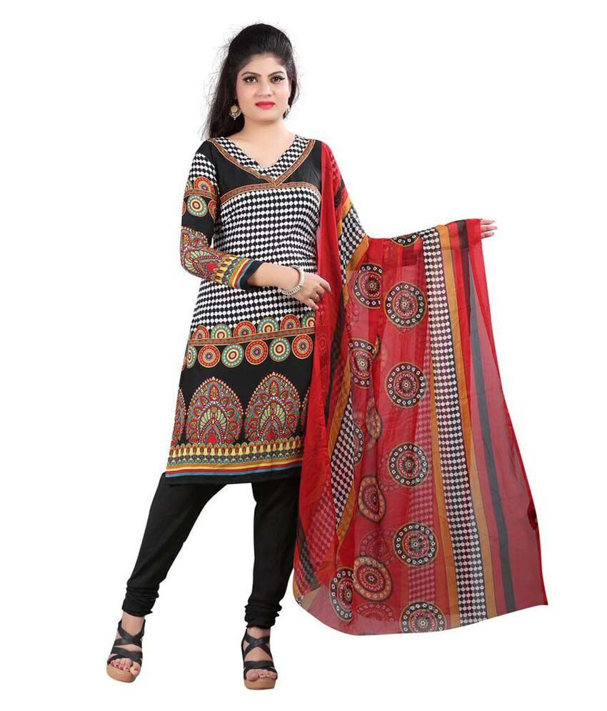 Snv Fashion Black Cotton Unstitched Dress Material
