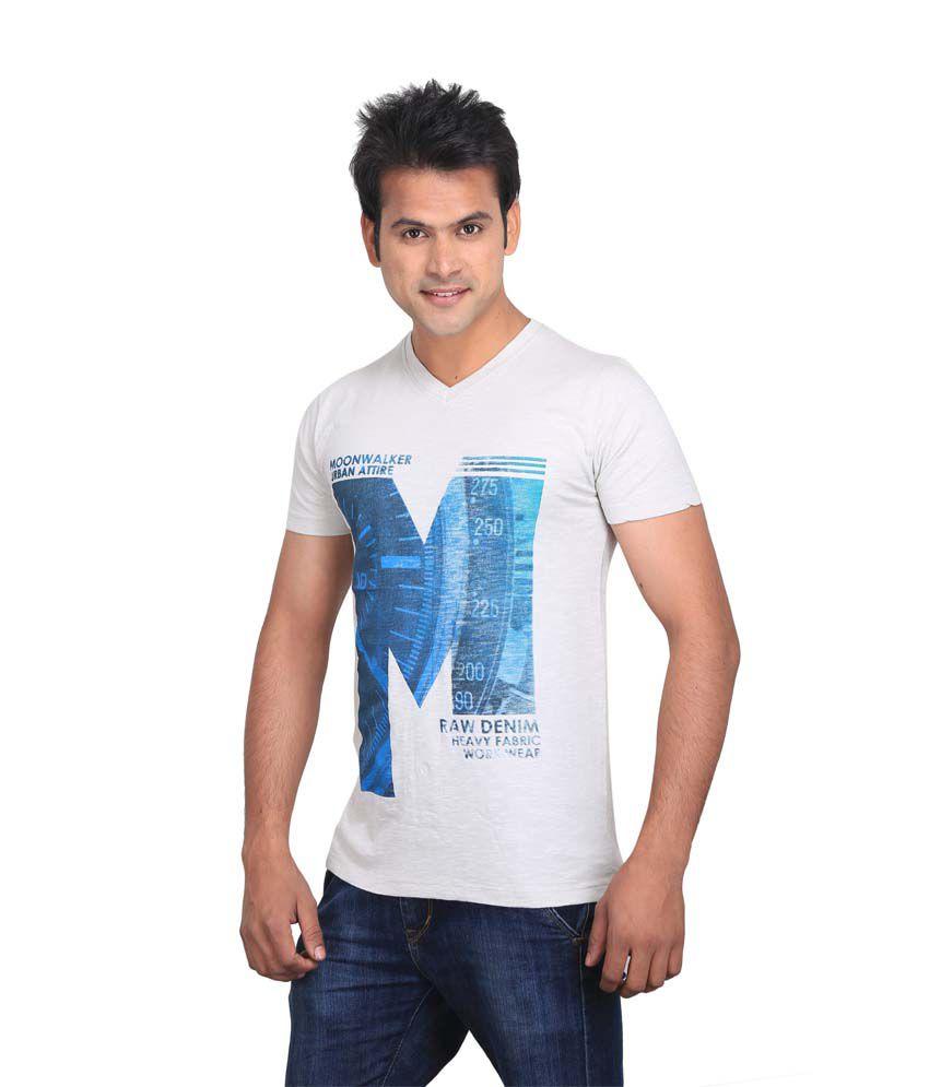 Planet 69 White V-neck T-shirt