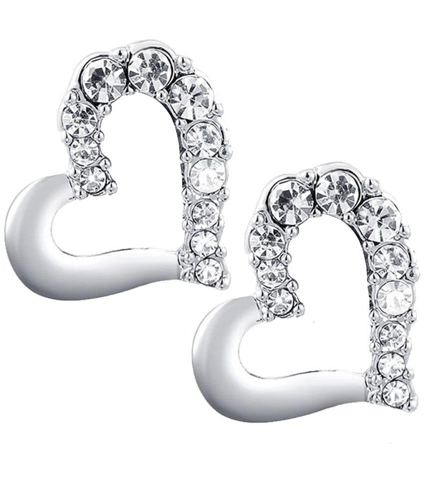 Kaizer Jewelry Heart Zest 18 Karat White Gold Plated Earrings