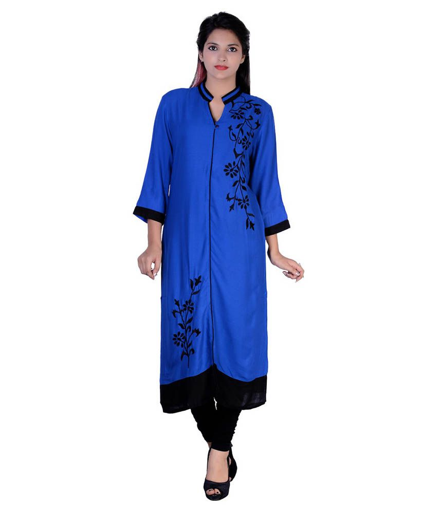 Jingadala Blue A - Line Cotton Kurti