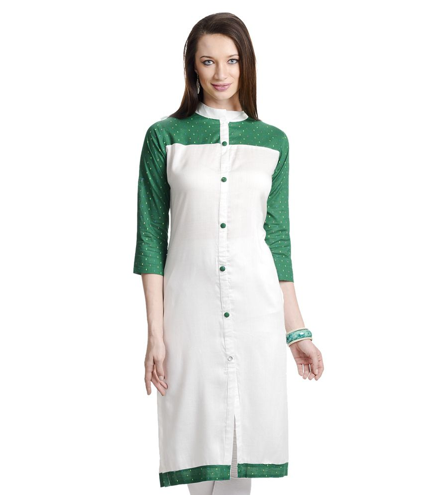 Navya Diseno White Rayon Kurti With Dotted Green Yoke And Sleeves