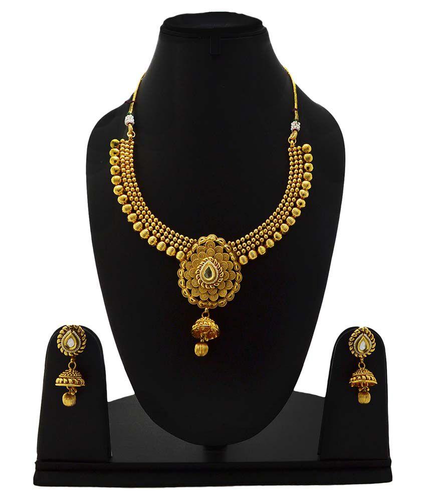 Imli Street Brass & Copper Golden Pearl Necklace Set
