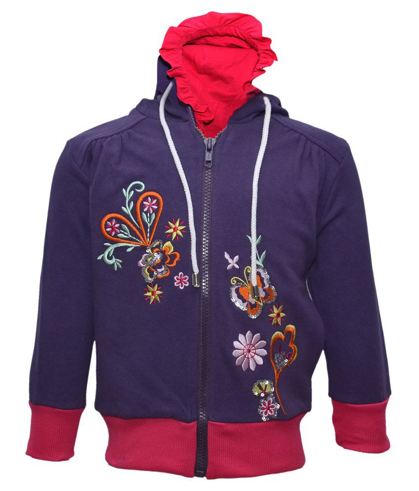 Cool Quotient Purple Hooded Sweatshirt For Girls