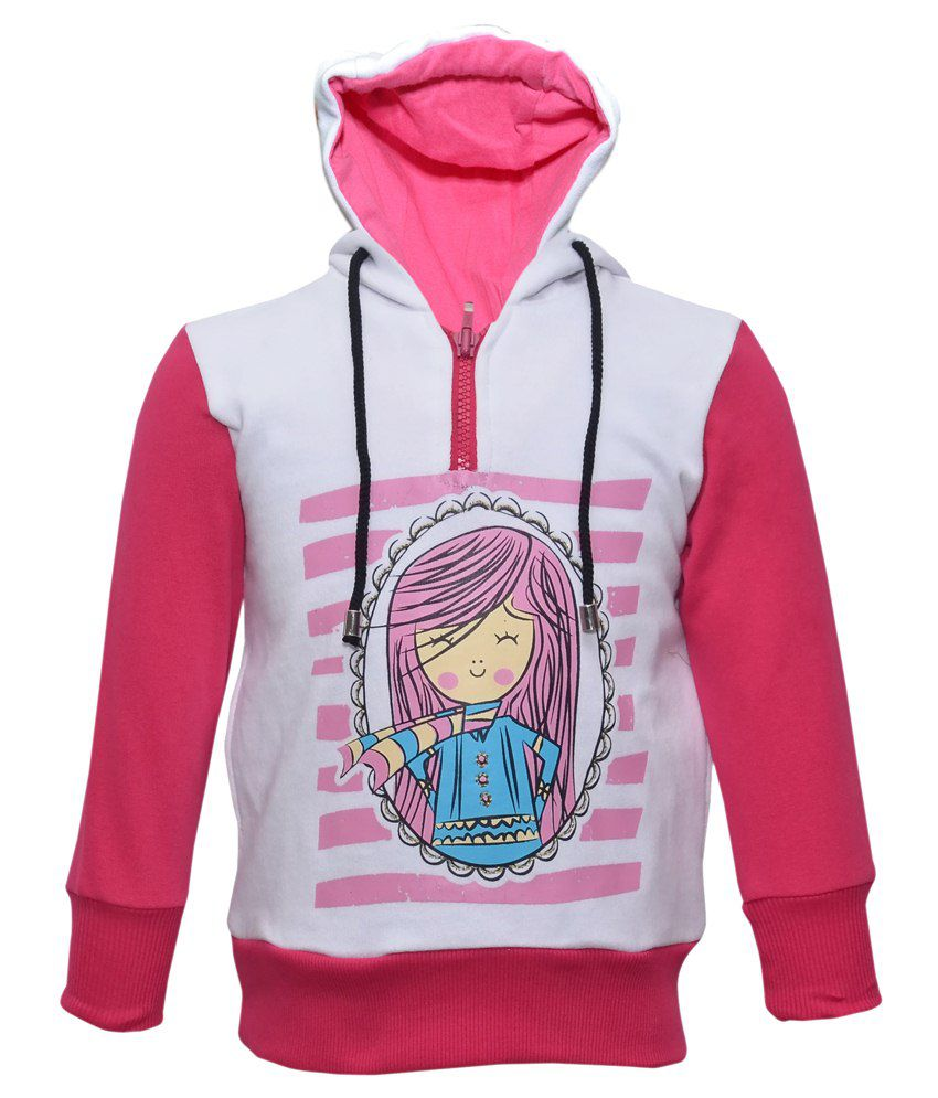 Cool Quotient White Hooded Sweatshirt For Girls