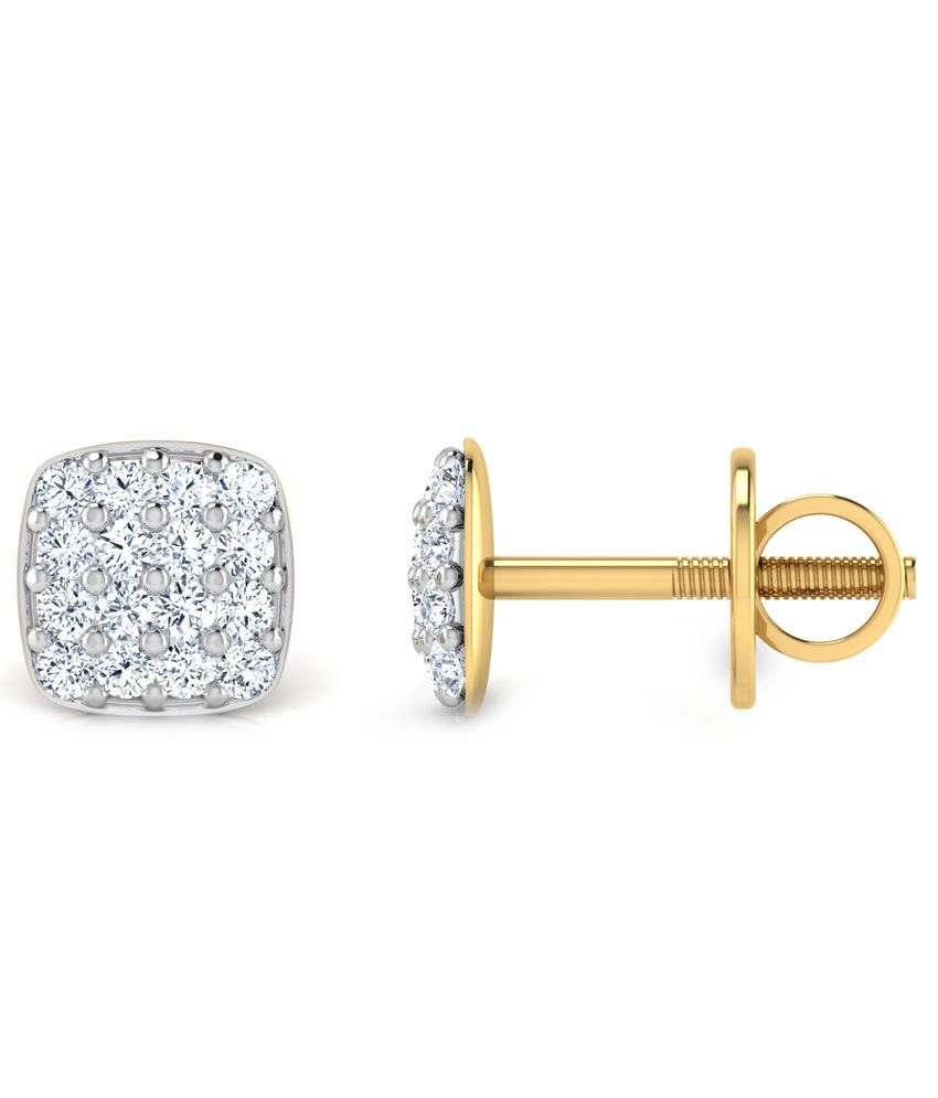Diamond Plus 18kt Gold Stud Earrings