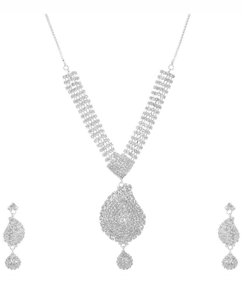 Jai Shree Silver Alloy Bridal Drop Necklace Set