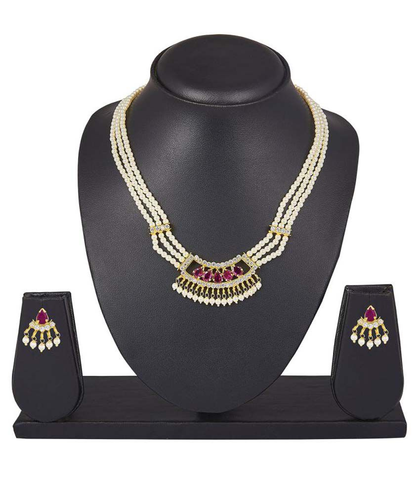 Archi Collection Pink And White Alloy Cz Necklace Set