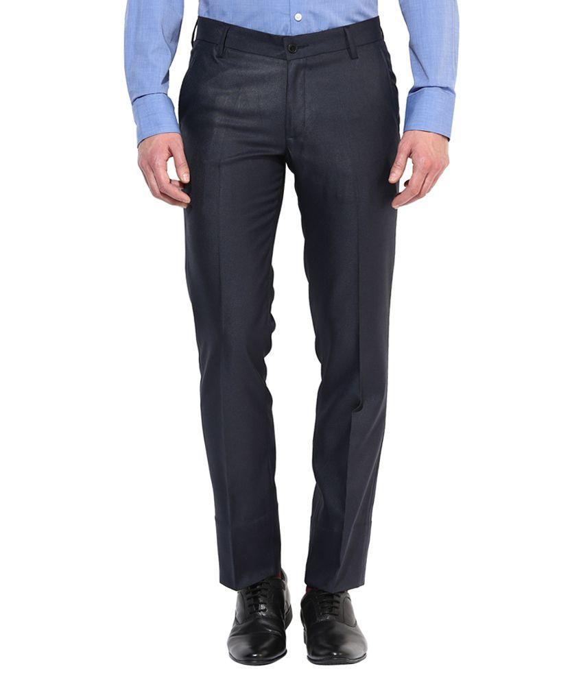 Bukkl Black Slim -Fit Flat Trousers