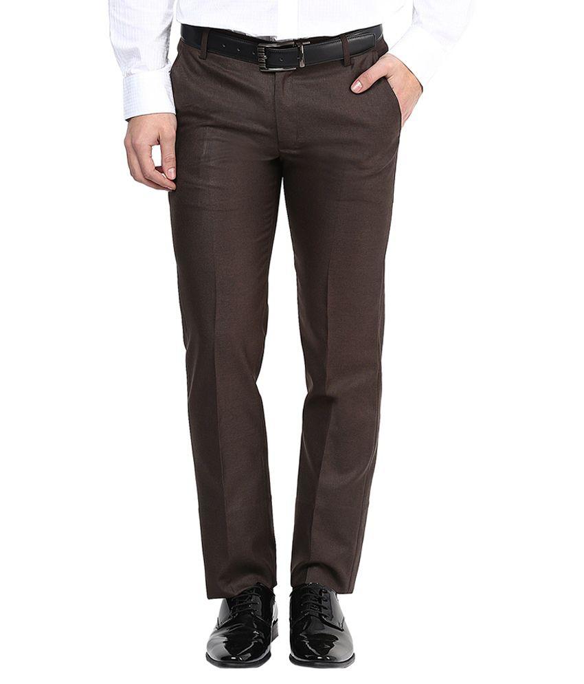 Bukkl Coffee Slim Fit Formal Flat Trousers